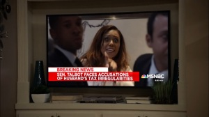 Super Tuesday- Kemi Talbot answers questions about her husband's tax irregularities- Veep, HBO