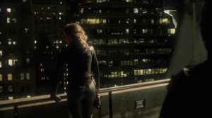 The Beginning- Bruce stands behind Selina on the roof- Gotham, Fox