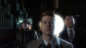 The Beginning- Jim, Harvey, and Alfred look up at The Batman- Gotham, Fox