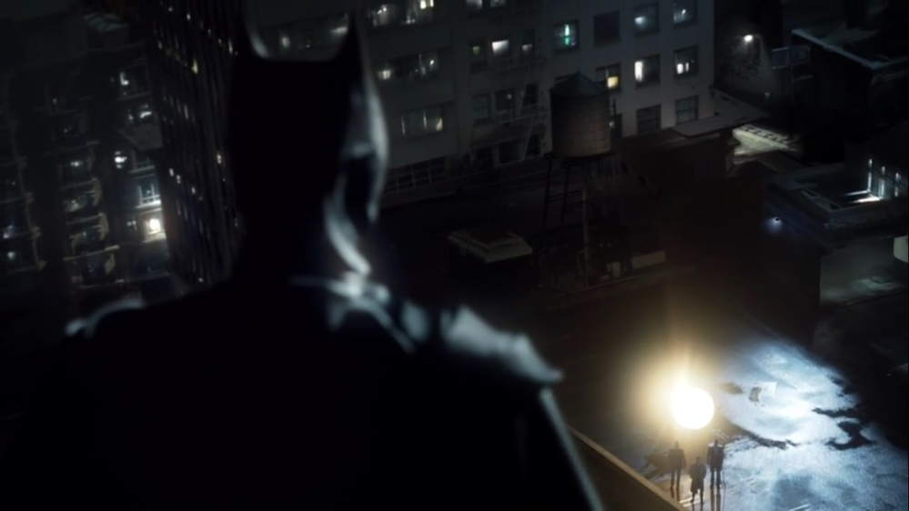 The Beginning- The Batman looks down at Jim, Harvey, and Alfred- Gotham, Fox