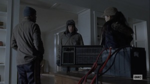 The Storm- Gabriel, Eugene, and Rosita talk about staying warm- AMC, The Walking Dead