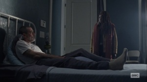 The Storm- Michonne thanks Negan for saving Judith- AMC, The Walking Dead