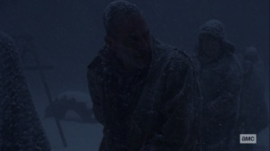 The Storm- Negan about to rush after Judith- AMC, The Walking Dead
