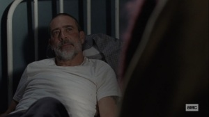 The Storm- Negan tells Michonne that no one thinks they're the evil ones- AMC, The Walking Dead