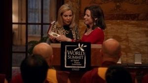 Oslo- Selina delivers her speech after receiving the Nobel Peace Prize- Veep, HBO