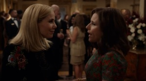 Oslo- Selina tells Minna that she droned a wedding- Veep, HBO