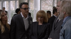 Veep- Dan, Amy, Bill, and Kent catch up at Selina's funeral- HBO
