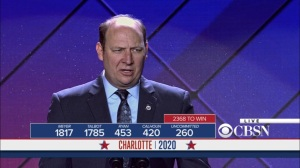 Veep- Roger Furlong announces the roll call at the convention- HBO