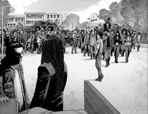 The Walking Dead #192- People gather to head to Alexandria and pay respects to Rick Grimes