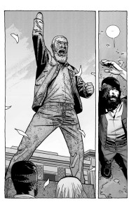 The Walking Dead #193- Carl and Sophia look up at the statue of Rick