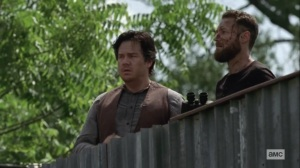 Ghosts- Aaron and Eugene at the Alexandria gates- AMC, The Walking Dead