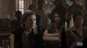 Ghosts- Margo, played by Jerri Tubbs, tells the council that the Highwaymen want justice- AMC, The Walking Dead