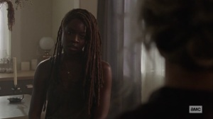 Ghosts- Michonne asks how Carol is doing- AMC, The Walking Dead