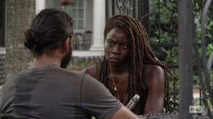 Ghosts- Michonne asks Siddiq how he's holding up- AMC, The Walking Dead