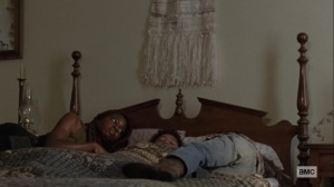 Ghosts- Michonne, RJ, and Judith rest- AMC, The Walking Dead