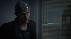 It's Summer and We're Running Out of Ice- Wade, Looking Glass, played by Tim Blake Nelson, speak with Judd- HBO, Watchmen