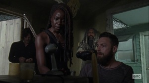 Lines We Cross- Aaron and Michonne talk to Gabriel on the radio- AMC, The Walking Dead