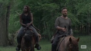 Lines We Cross- Aaron asks Michonne if they're the good guys- AMC, The Walking Dead