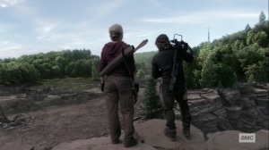 Lines We Cross- Carol and Daryl at a cliff- AMC, The Walking Dead