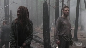 Lines We Cross- Michonne and Aaron after the fire- AMC, The Walking Dead