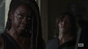 Lines We Cross- Michonne doesn't want to start a panic- AMC, The Walking Dead