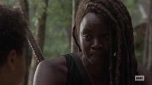 Lines We Cross- Michonne explains selflessness to RJ- AMC, The Walking Dead