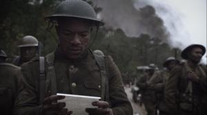 Marital Feats of Comanche Horsemanship- Black soldier reads a letter- HBO, Watchmen