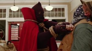 Marital Feats of Comanche Horsemanship- Hooded Justice delivers a beatdown- HBO, Watchmen