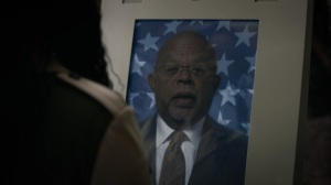 Marital Feats of Comanche Horsemanship- Treasury Secretary Henry Louis Gates Jr on a monitor- HBO, Watchmen