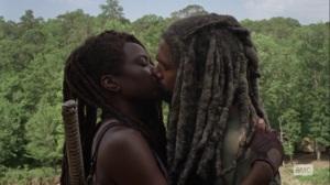 Silence the Whisperers- Ezekiel kisses Michonne- AMC, The Walking Dead