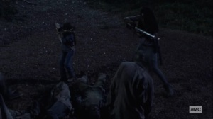 Silence the Whisperers- Judith and Michonne battle walkers at Hilltop- AMC, The Walking Dead