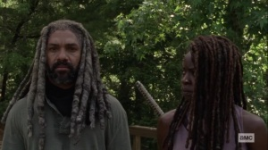 Silence the Whisperers- Michonne stands with Ezekiel- AMC, The Walking Dead