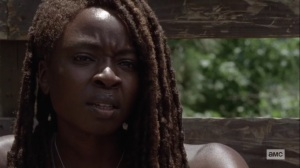 Silence the Whisperers- Michonne talks about wearing a mask- AMC, The Walking Dead