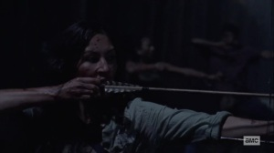 Silence the Whisperers- Yumiko fires an arrow- AMC, The Walking Dead