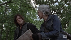 Bonds- Carol tells Daryl that they're going to stake out a possible Whisperer meet up point- AMC, The Walking Dead