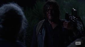 Bonds- Daryl sees that Carol has taken a Whisperer as hostage- AMC, The Walking Dead