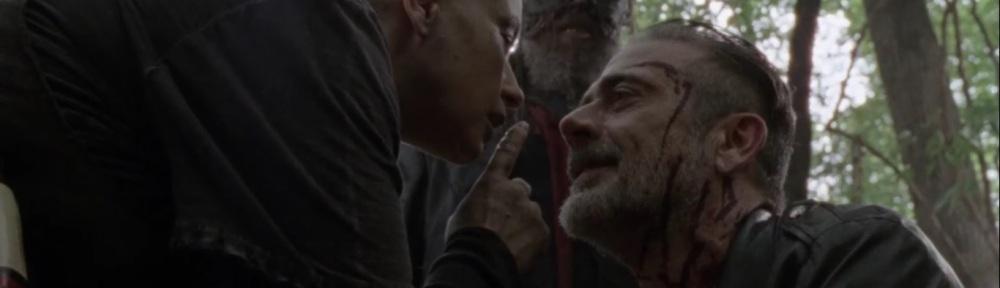 Bonds- Negan kneels before Alpha- AMC, The Walking Dead