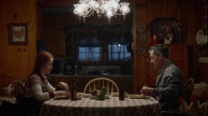 If You Don't Like My Story, Write Your Own- Katy Clark, played by Christine Weatherup, and Jon Clark, played by Robert Pralgo, have dinner- HBO, Watchmen
