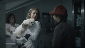 Little Fear of Lightning- Cynthia, played by Eileen Grubba, asks Wade if the dogs look the same- HBO, Watchmen