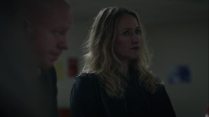 Little Fear of Lightning- Renee, played by Paula Malcomson, joins the therapy session- HBO, Watchmen