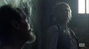 Open Your Eyes- Carol tries to get the Whisperer prisoner to talk- AMC, The Walking Dead