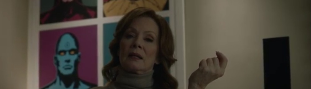 She Was Killed By Space Junk- Laurie with a poster behind her of Manhattan, Silk Spectre, Ozymandias, and Nite Owl- HBO, Watchmen