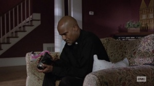 The World Before- Gabriel looks over Dante's interview tape- AMC, The Walking Dead