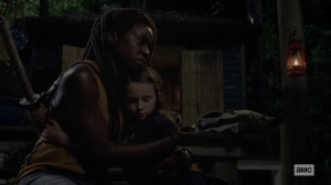 The World Before- Michonne hugs Judith- AMC, The Walking Dead
