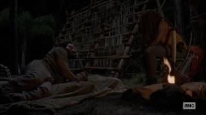 The World Before- Michonne interrogates the stranger- AMC, The Walking Dead