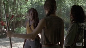 The World Before- Michonne tells Cyndie and Rachel to change Oceanside's vetting system- AMC, The Walking Dead