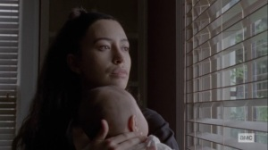 The World Before- Rosita spots Gabriel leaving the cell- AMC, The Walking Dead