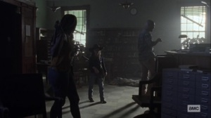 The World Before- Scott, Michonne, Luke, and Judith explore the library- AMC, The Walking Dead