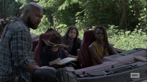 The World Before- Scott tells Michonne, Judith, and Luke about some recent tracks- AMC, The Walking Dead