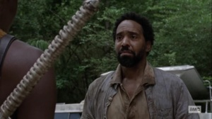 The World Before- Virgil, played by Kevin Carroll, introduces himself to Michonne- AMC, The Walking Dead